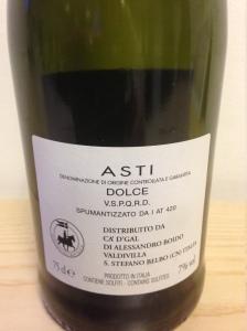 Asti DOCG Spumante Dolce - Ca'D'Gal - bottiglia retro