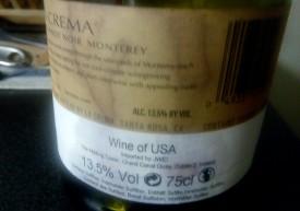 La Crema Monterey, Pinot Noir. 2014. Retroetichetta.