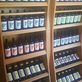 Bottiglie in esposizione cantina Lucchetti
